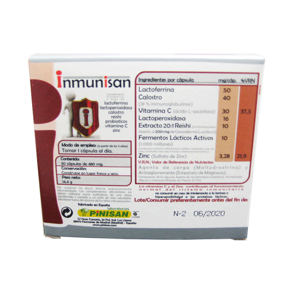 Informacion nutricional composición por capsula Inmunisan